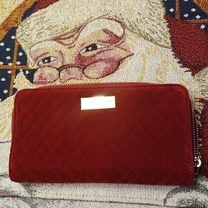 NWOT! Adrienne Vittini Velvet Red Wallet
